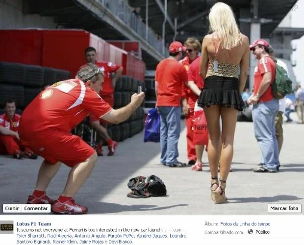 """Foto do facebook da Lotus, em que diz que """"nem todo mundo na Ferrari está interessado no lançamento do novo carro..."""""""